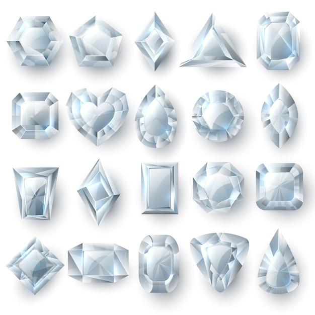 Gemme d'argento dei diamanti, insieme di vettore dei gioielli delle pietre di taglio isolate Vettore Premium