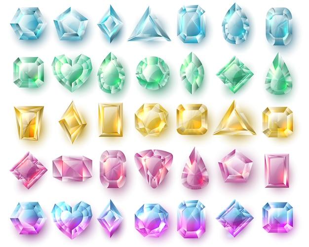 Gemme dal taglio di colore, brillanti naturali. insieme di vettore di pietre preziose e diamanti isolato. pietra preziosa, diamante gemma preziosa illustrazione Vettore Premium