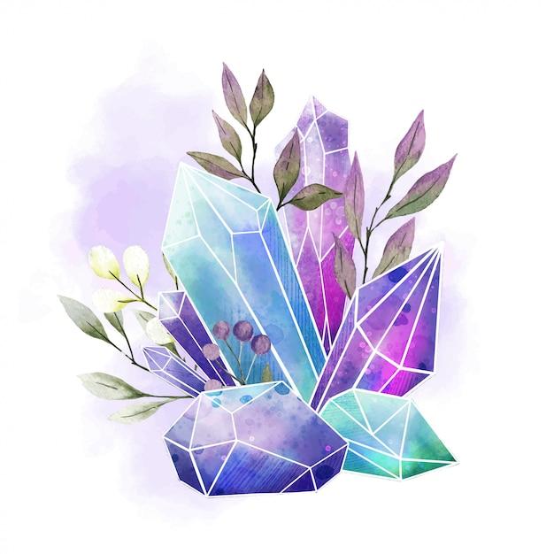 Gemme dell'acquerello, cristalli e foglie, acquerello disegnato a mano Vettore Premium
