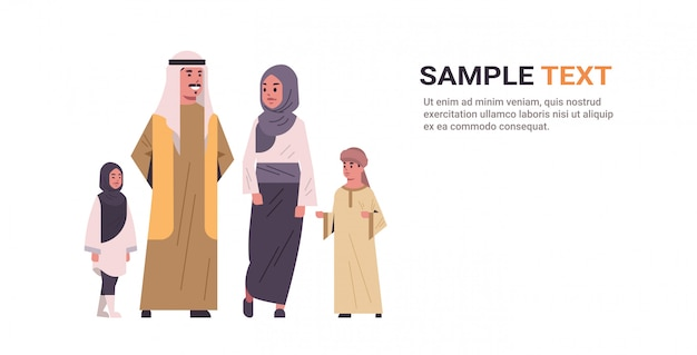 Genitori arabi con bambini in piedi insieme felice famiglia araba in abiti tradizionali Vettore Premium