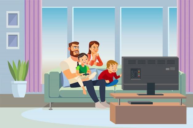 Genitori che spendono tempo con il vettore dei bambini a casa Vettore Premium
