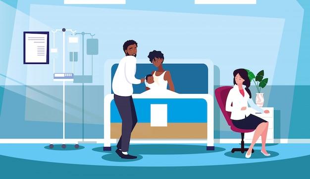 Genitori con neonato nella sala di ricovero in barella Vettore Premium
