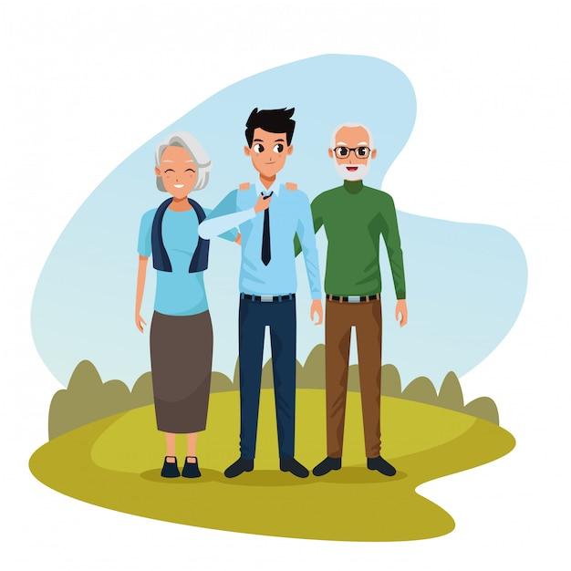 Genitori familiari e cartoni animati Vettore gratuito