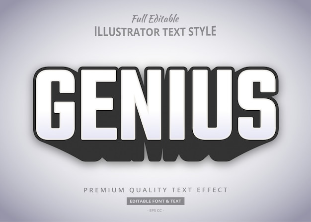 Genius bold shadow effetto stile testo Vettore Premium
