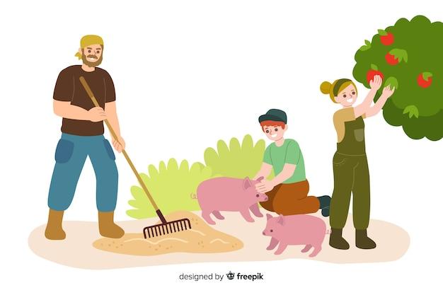 Gente agricola che lavora sul campo Vettore gratuito