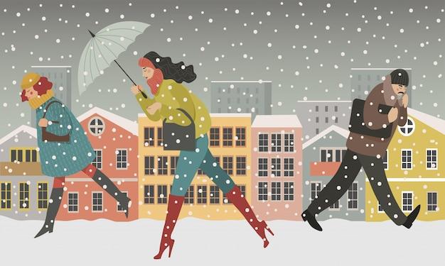 Gente ambulante nell'illustrazione moderna di concetto della città degli uomini e delle donne, camminante sotto la neve nella via Vettore Premium