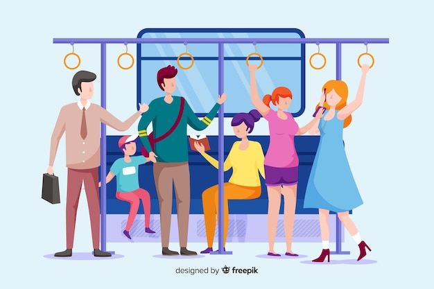 Gente che va in metropolitana Vettore gratuito