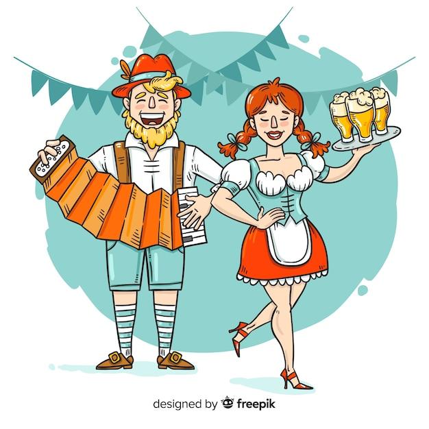 Gente del fumetto che celebra il più oktoberfest Vettore gratuito