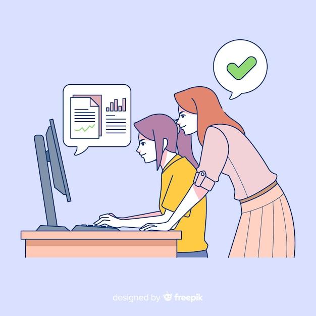 Gente di affari all'ufficio nello stile coreano del disegno Vettore gratuito