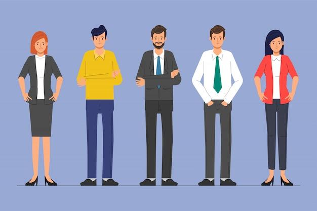 Gente di affari carattere lavoro di squadra in piedi aziendale. Vettore Premium