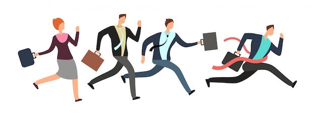 Gente di affari che corre con l'arrivo dell'incrocio del capo. Vettore Premium