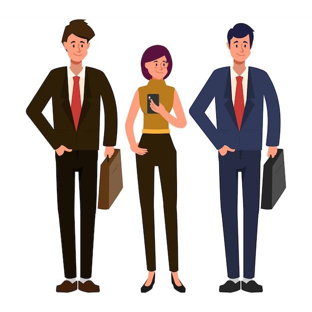 Gente di affari che lavora nel carattere di lavoro di squadra. carattere di uomo d'affari e imprenditrice e ingegnere. Vettore Premium