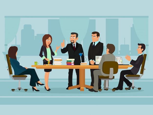 Gente di affari che si incontra discutendo lavoro delle persone di affari della scrivania Vettore Premium