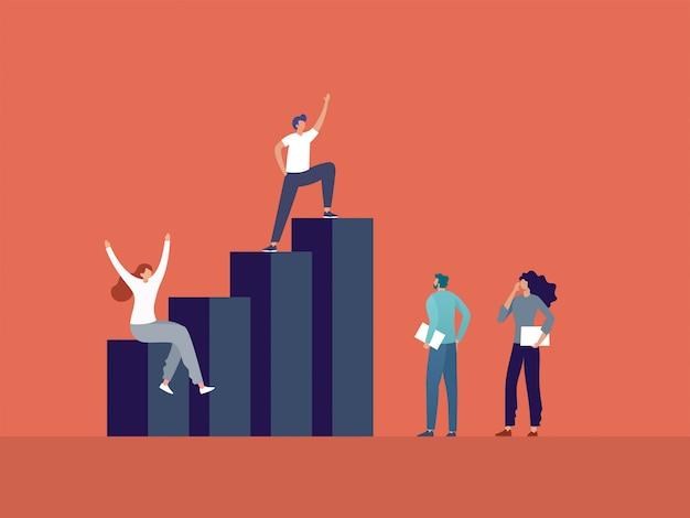 Gente di affari che sta sull'illustrazione del grafico, della direzione di affari e di lavoro di squadra. Vettore Premium