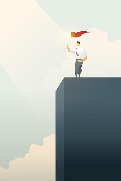 Gente di affari con la bandiera sul levarsi in piedi sulla cima dell'istogramma sopra degli obiettivi, successo. Vettore Premium