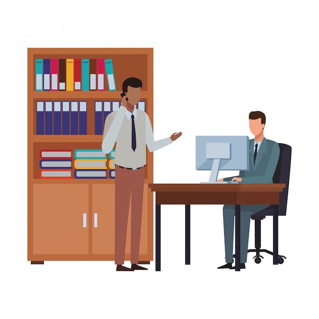 Gente di affari ed elementi dell'ufficio Vettore Premium