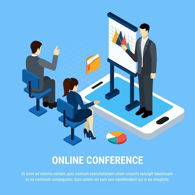 Gente di affari isometrica, gruppo di impiegati durante l'illustrazione online di vettore di presentazione Vettore gratuito