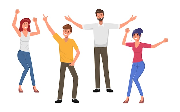 Gente di affari lavoro di squadra in ufficio festa con balli e canti. Vettore Premium