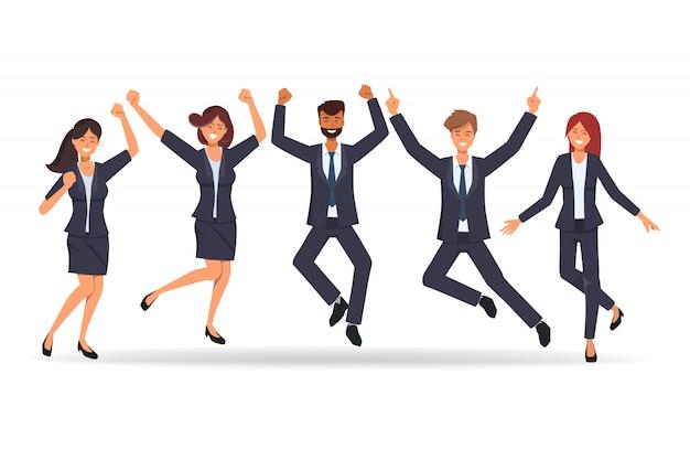 Gente di affari nel lavoro di squadra felice dopo il lavoro riuscito. Vettore Premium