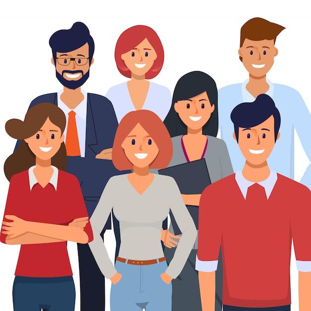 Gente di affari nell'ufficio dell'organizzazione e carattere di lavoro indipendente. Vettore Premium