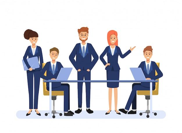 Gente di affari personaggio di collega di lavoro di squadra. comunità di seminari di persone di scena di animazione. Vettore Premium