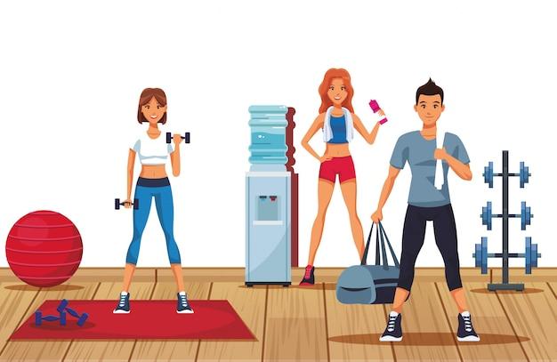 Gente di forma fisica in palestra Vettore Premium