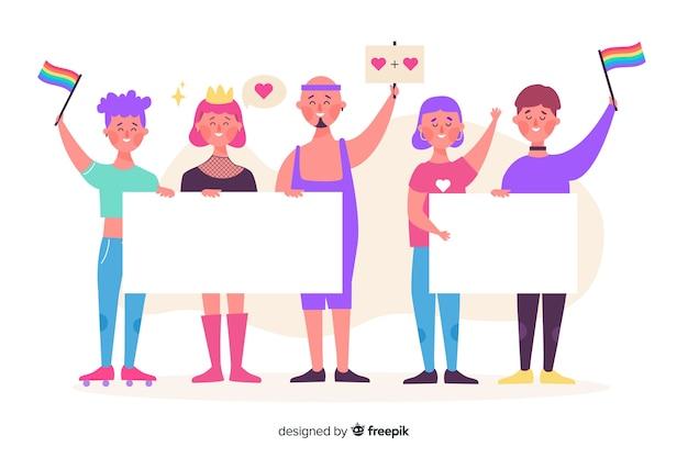 Gente di orgoglio illustrata che tiene le bandiere vuote Vettore gratuito