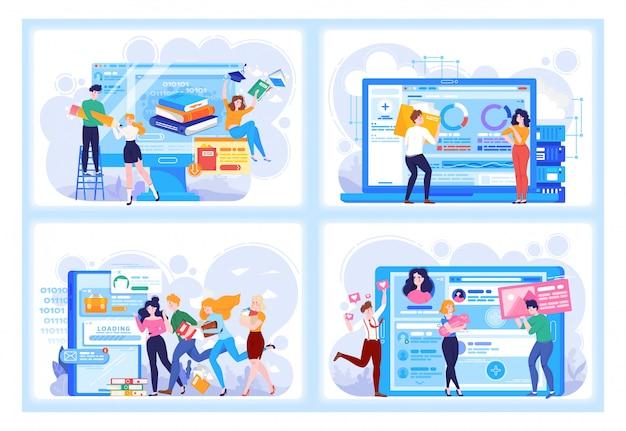 Gente di tecnologia digitale in affari e relazioni virtuali, incontri online, apprendimento e set di illustrazione di social network. Vettore Premium