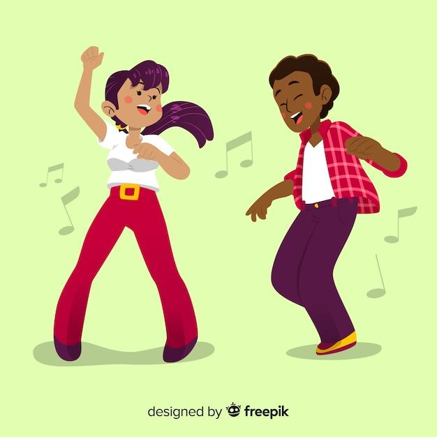 Gente disegnata a mano che balla insieme Vettore gratuito