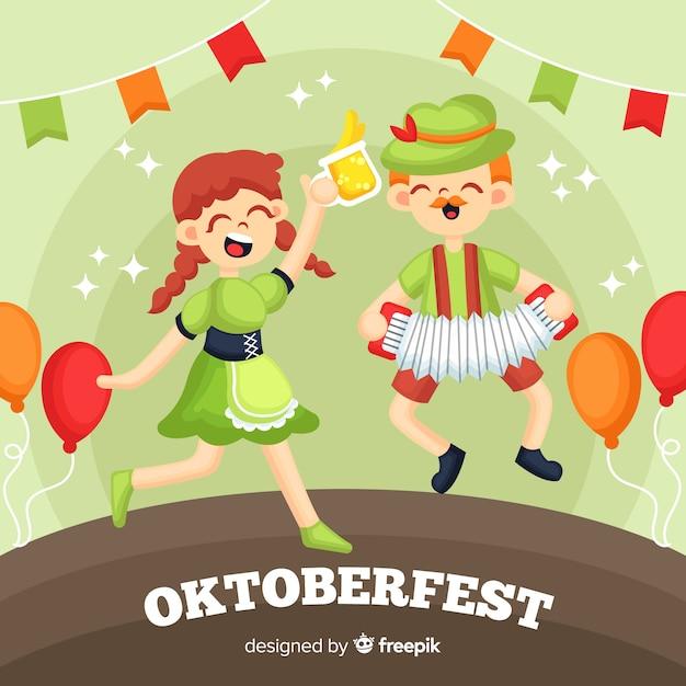 Gente disegnata a mano che celebra il più oktoberfest Vettore gratuito
