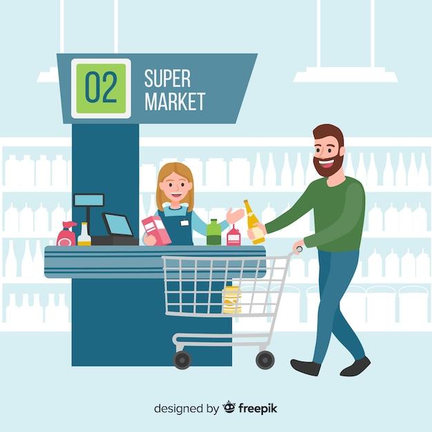 Gente disegnata a mano che compra sullo sfondo del supermercato Vettore gratuito