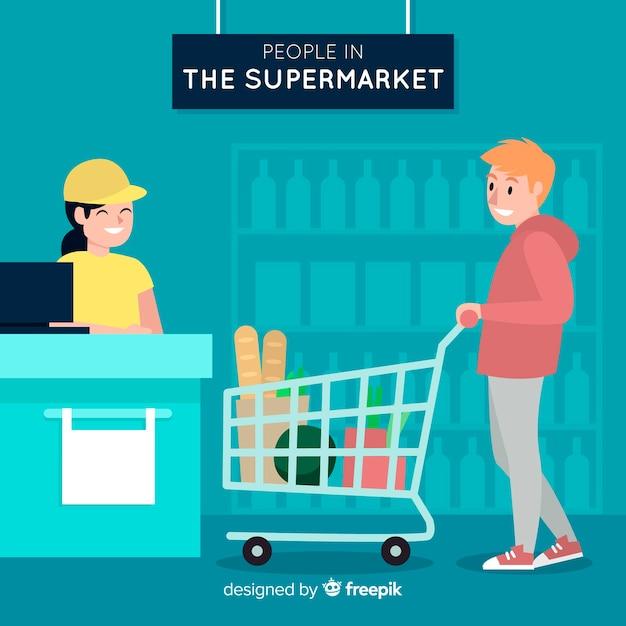 Gente disegnata a mano shopping sullo sfondo del supermercato Vettore gratuito