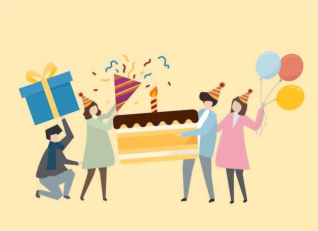 Gente felice che celebra un'illustrazione di compleanno Vettore gratuito