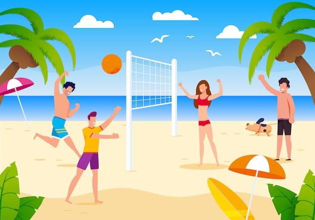 Gente felice del fumetto che gioca beach volley sulla sabbia. Vettore Premium
