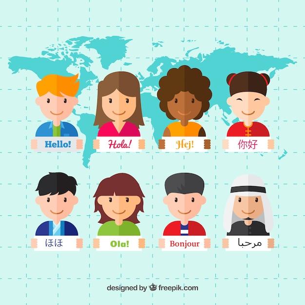 Gente multiculturale che parla lingue diverse con design piatto Vettore gratuito