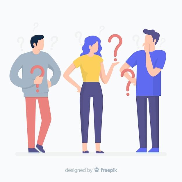 Gente piana che tiene il fondo dei punti interrogativi Vettore gratuito