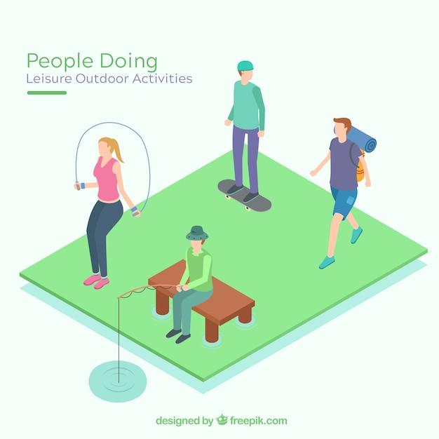 Gente piatta che fa attività all'aria aperta per il tempo libero Vettore gratuito