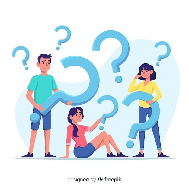 Gente piatta con punti interrogativi Vettore gratuito