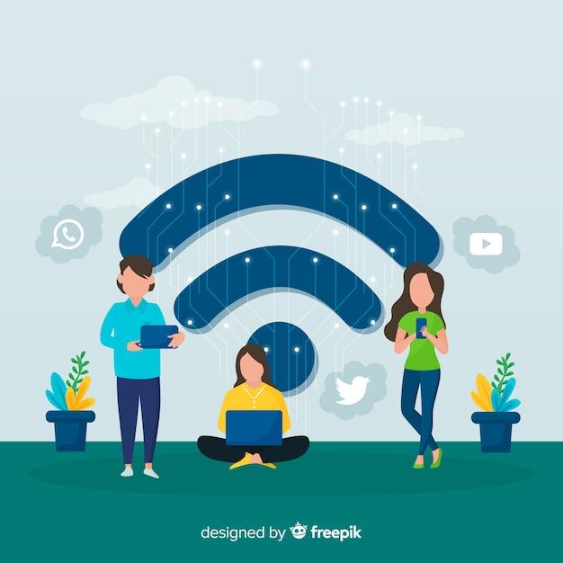 Gente piatta con sfondo di segno wifi Vettore gratuito