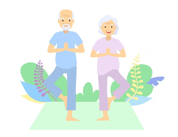 Genti senior e ginnastica. coppia di anziani. i nonni fanno esercizi. sport. esercizi mattutini. posizione all'aperto di pratica di yoga delle coppie anziane. Vettore Premium