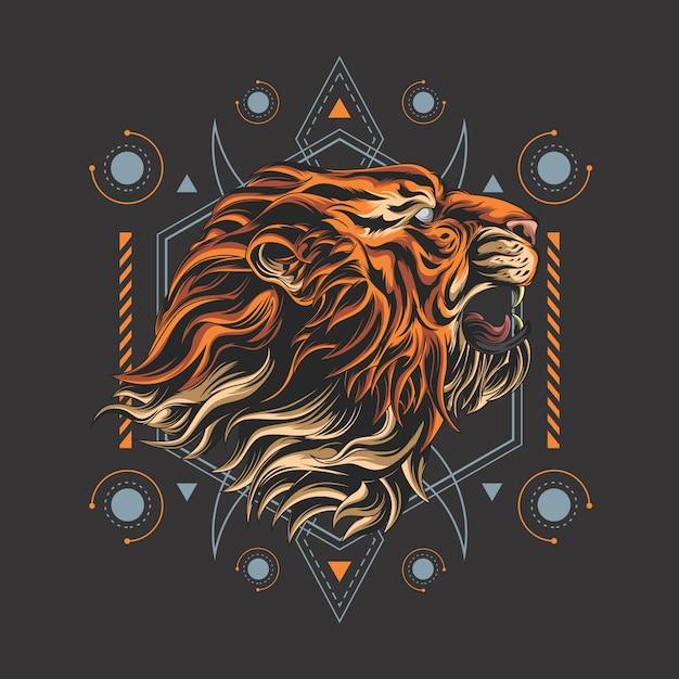 Geometria sacra della tigre assassina Vettore Premium