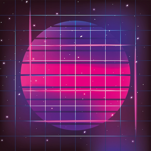 Geometric sun neon e stile grafico Vettore Premium