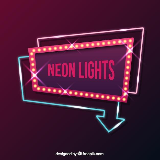 Geometrica insegna al neon Vettore gratuito