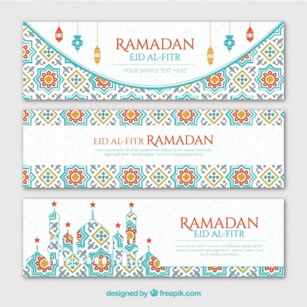 Geometriche banner ramadan impostati Vettore gratuito