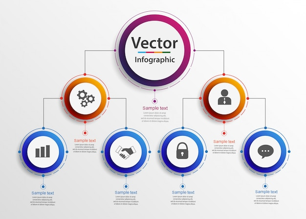 Gerarchia aziendale organigramma grafico infografica. Vettore Premium