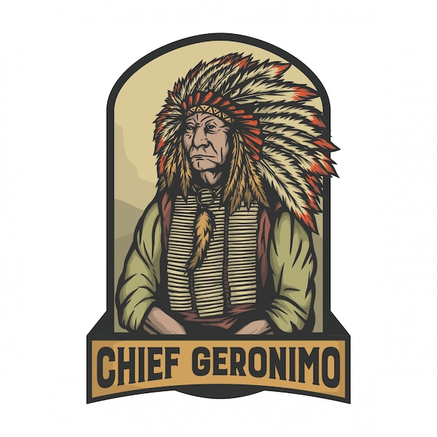 Geronimo capo come leader indiano nella posa della firma Vettore Premium