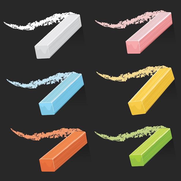 Gessi colorati dell'artista, bastoncini pastello con tratti sul set di lavagna Vettore Premium
