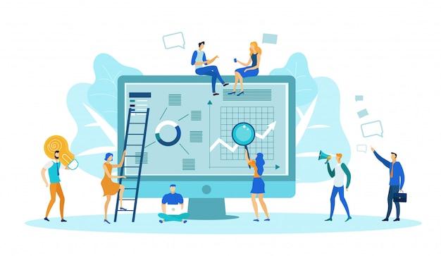 Gestione dei contenuti, analisi di grafici, grafici. Vettore Premium