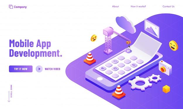 Gestione dei social media e degli strumenti di analisi per la progettazione di poster o pagine di destinazione per siti web di sviluppo di app mobili. Vettore Premium