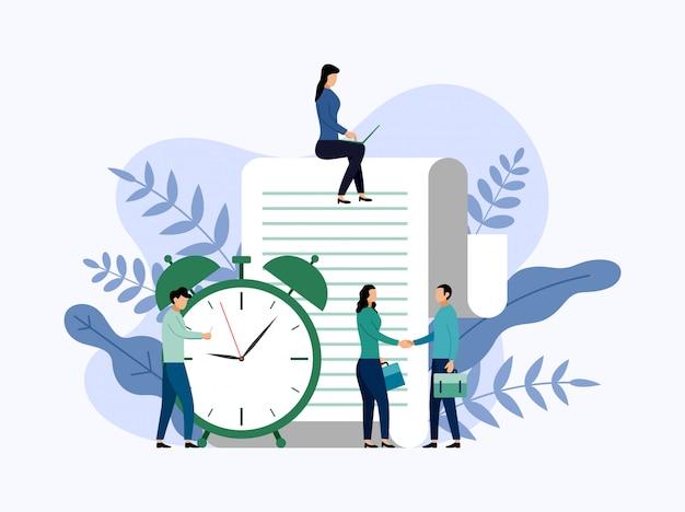 Gestione del tempo, concetto di pianificazione o pianificatore Vettore Premium